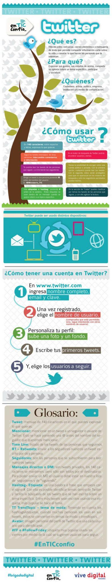 Infografía Twitter para principiantes¿Qué es?¿Para qué?¿Quiénes? con Vocabulario