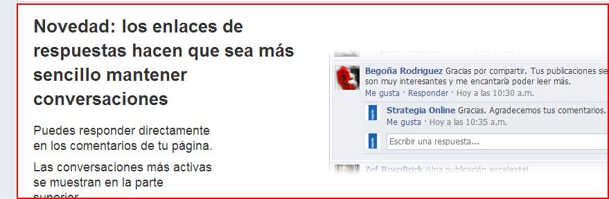 Las nuevas respuestas de Facebook. Más interacción, más conversación, más EdgeRank.