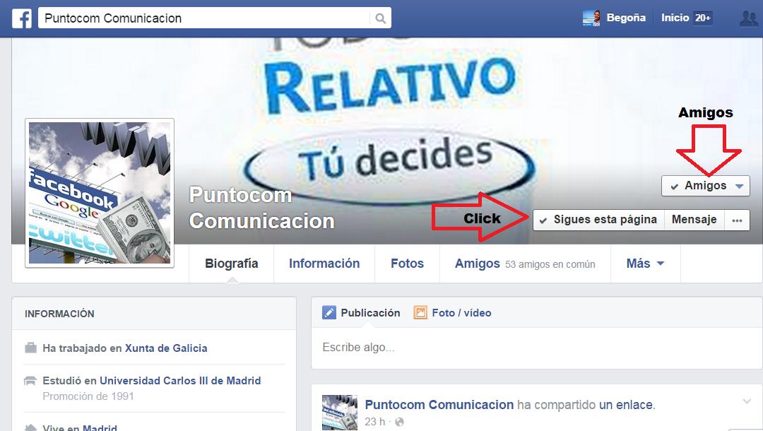 Facebook diferencias entre seguir y ser amigo.