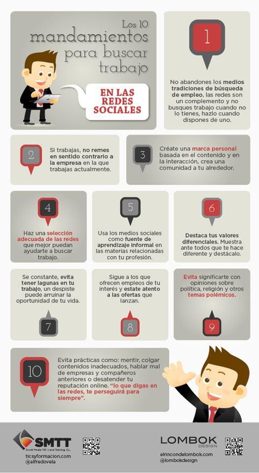 ¿Quieres mejorar tu futuro laboral? 10 mandamientos para buscar trabajo en las Redes Sociales #Infografía