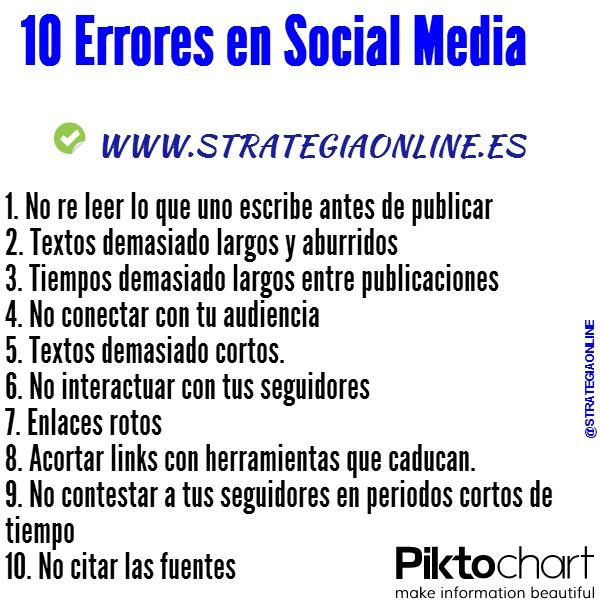 10 errores en Social Media