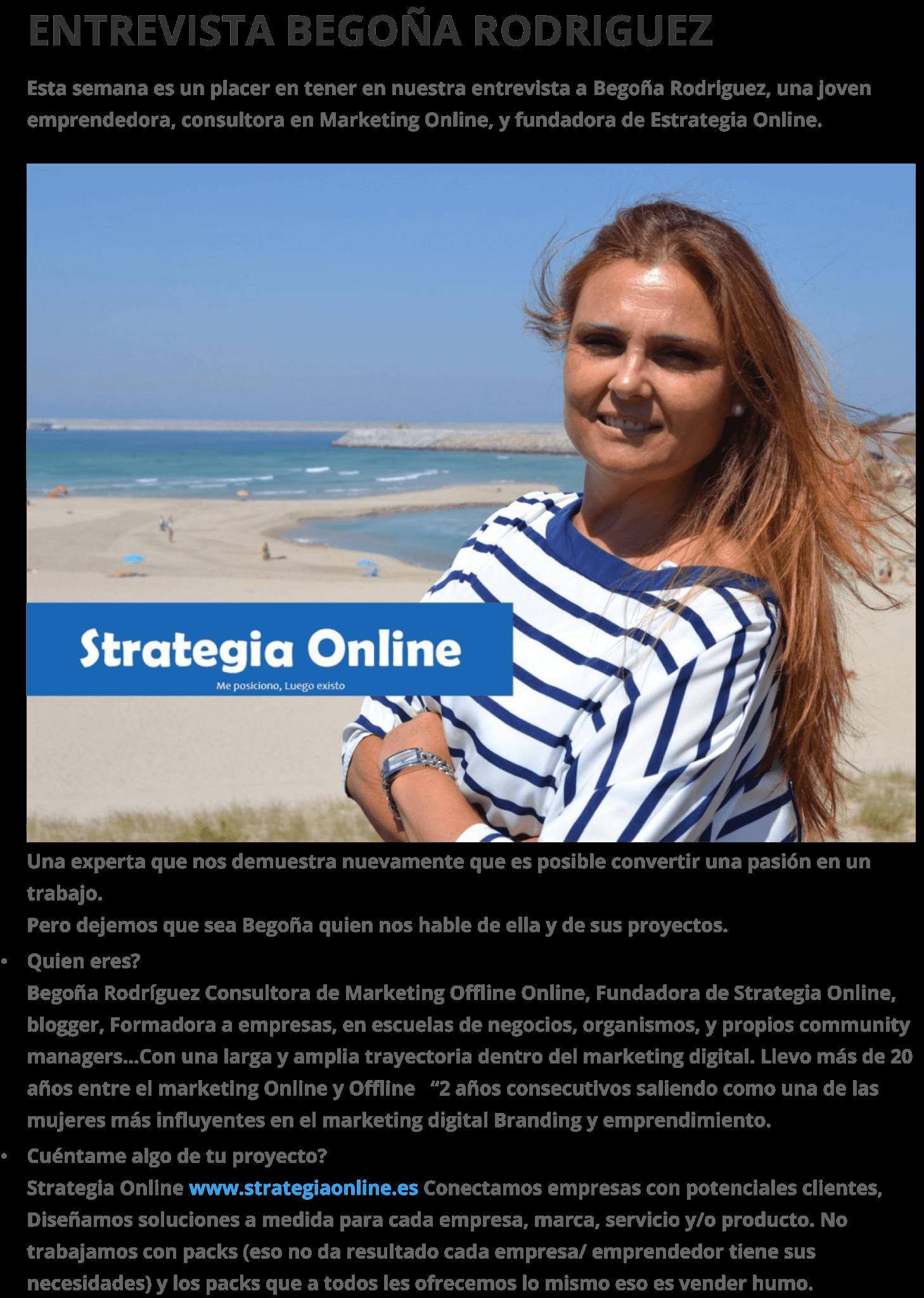 Entrevista: Conociendo los comienzos de Begoña Rodríguez Founder Strategia Online.